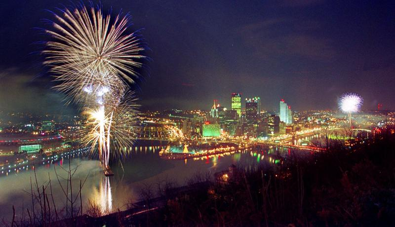 Fireworks explode over downtown Pittsburgh on Jan. 1, 2000. Zambelli Fireworks International staged Year-2000 shows around the world.