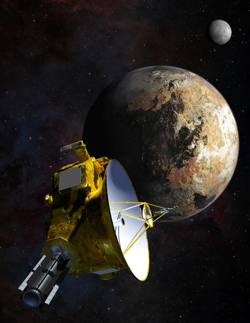 Artist's concept of the New Horizons spacecraft as it approaches Pluto and its largest moon, Charon.