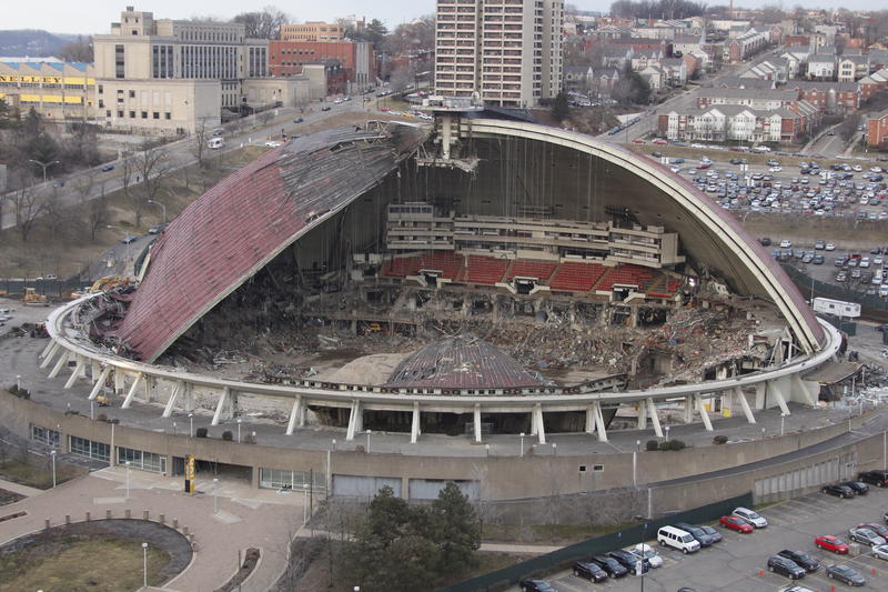 Built in 1961, the Civic Area was home to the Pittsburgh Penguins until the 2010 season, when the team moved across the street to the Consol Energy Center. Demolition on the Civic Arena got underway in September 2011.
