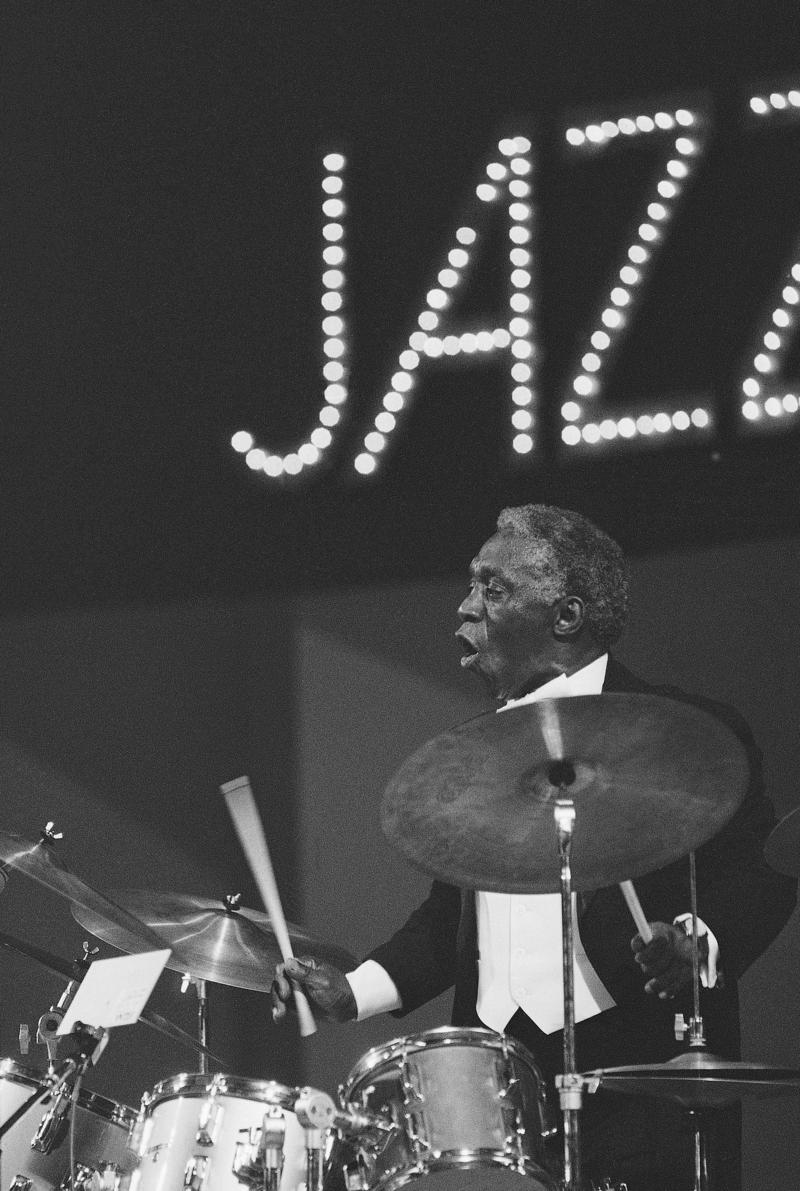 """Drummer Art Blakey performs on opening night of the Kool Jazz Festival at New York's Carnegie Hall on Friday, June 27, 1981. His group was called the """"Jazz Messengers."""""""