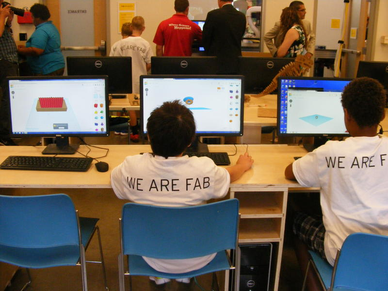 Campers at the lab's pilot summer camp design both 3-D and 2-D objects via computer software