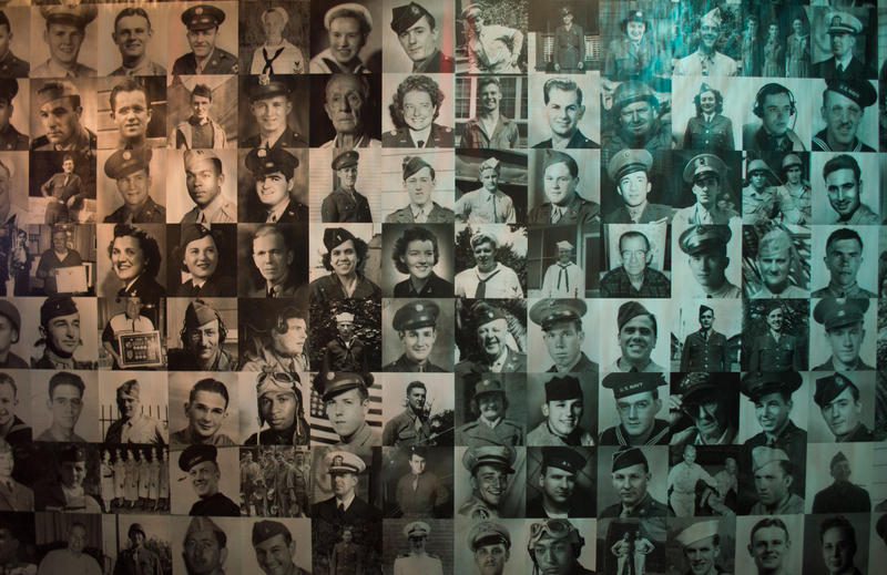 Faces of veterans cover the walls inside the Reflection Room at the Heinz History museum as a part of the We Can Do it! WW II exhibit currently on display until Jan. 4, 2016.