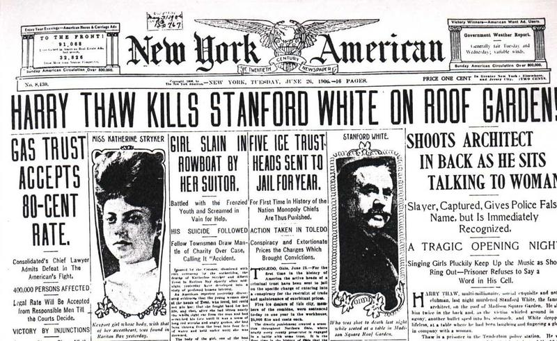 The front page of the New York American on June 26th, 1906.