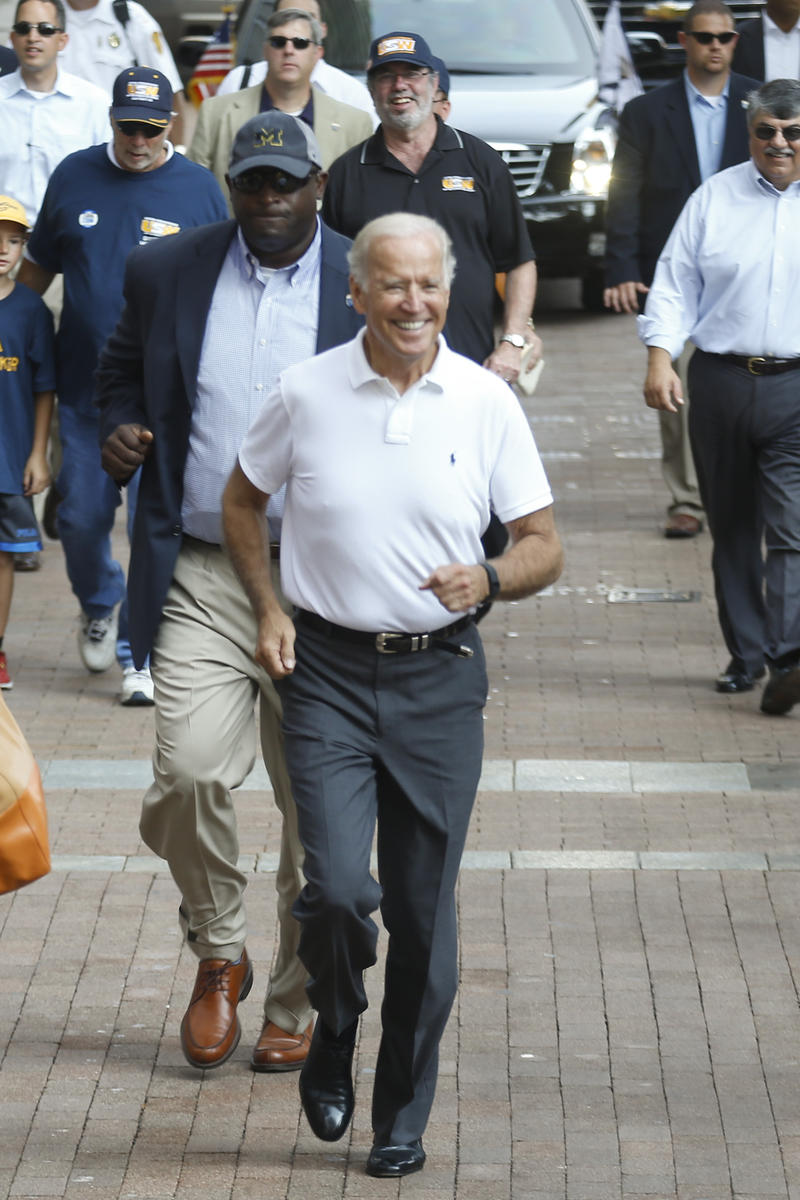 Biden marches in Pittsburgh's Labor Day parade.