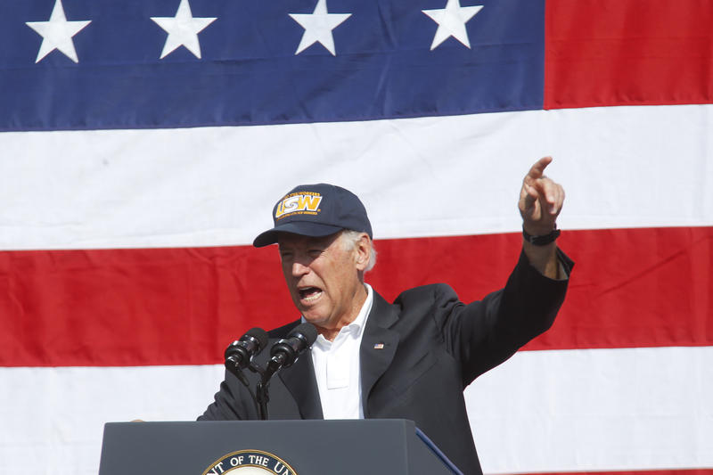 Biden addresses the crowd at Pittsburgh's Labor Day parade.