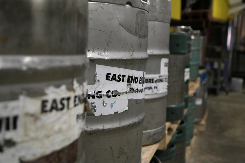 Kegs of East End beer ready for delivery to local bars.
