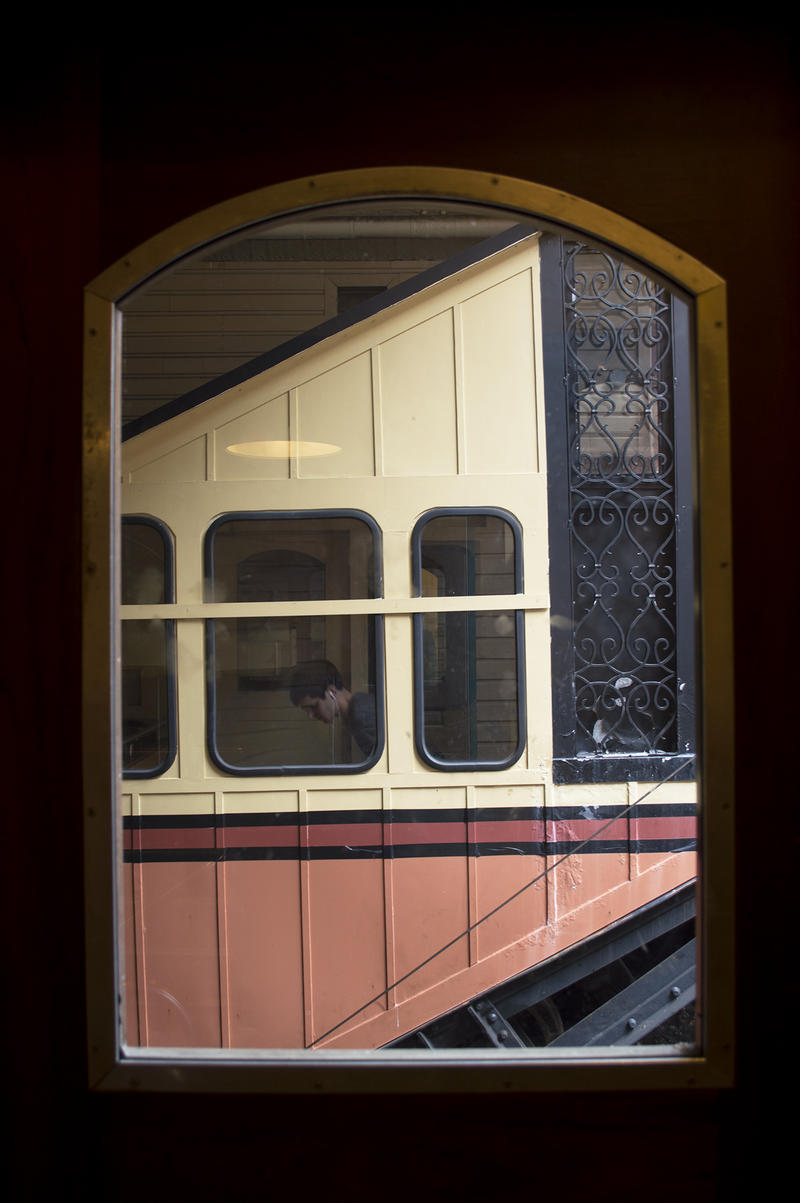 A view from inside the Monongahela Incline. Thousands ride the decades-old trolley every year to reach businesses along Mt. Washington's Shiloh Street and neighboring areas.