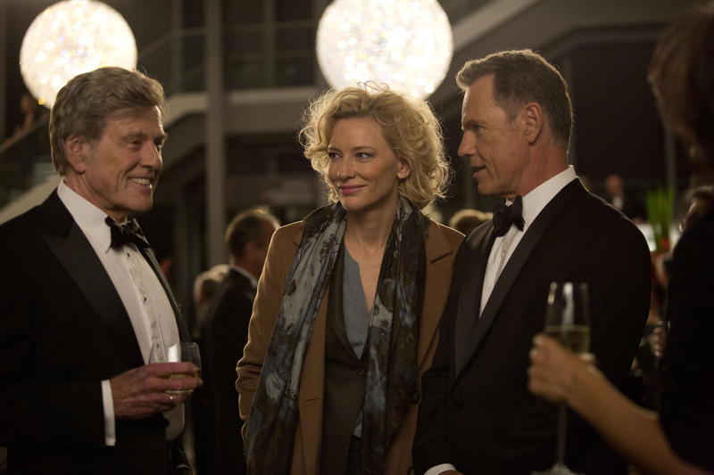 "In this image released by Sony Pictures Classics, Robert Redford portrays Dan Rather, from left, Cate Blanchett portrays Mary Mapes and Bruce Greenwood portrays Andrew Heyward in a scene from, ""Truth."""