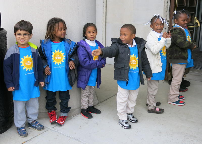 Kindergarten students from Phillips and Weil Elementary Schools greet visitors at the Hill House before the Pittsburgh Promise report to the community.