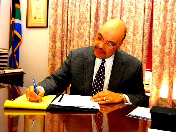 Councilman Ricky Burgess at his desk.