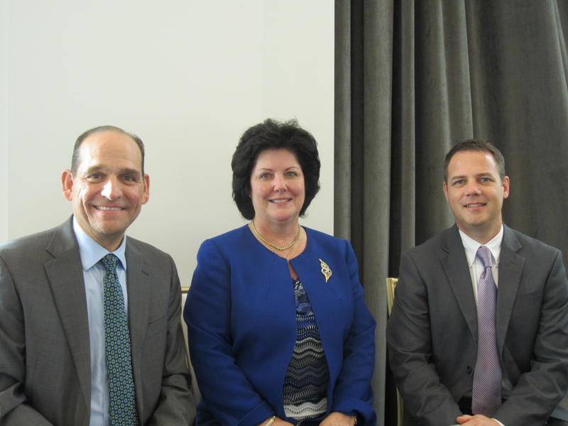 Superintendent Bart Rocco of Elizabeth Forward Schools, Superintendent Billie Rondinelli of South Fayette Township Schools and Tom Ralston of Avonworth Schools