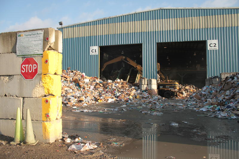 "Recyclables from all over Allegheny County are brought to Waste Management's eight-acre, single-stream Material Recovery Facility, or MRF (pronounced ""MURF"") on Neville Island."