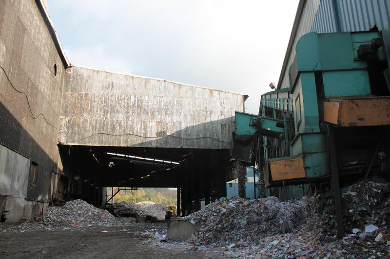 Glass is one of the least valuable reclaimed commodities. Here it is being expelled from the plant in two-inch pieces.