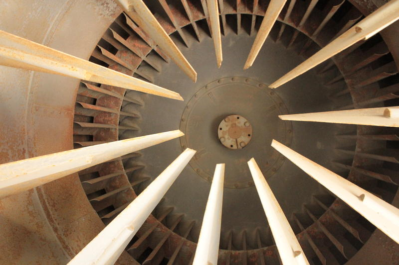 "The Liberty Tunnel fan blades weigh two tons. Lead electrician Joe Edwards said, ""You do not want to be in here when it breaks."""