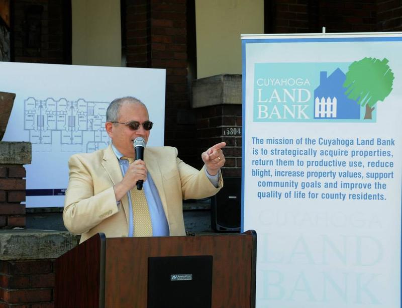 Cuyahoga Land Bank President Gus Frangos speaks at the NEON Veteran Housing Program Launch in June.