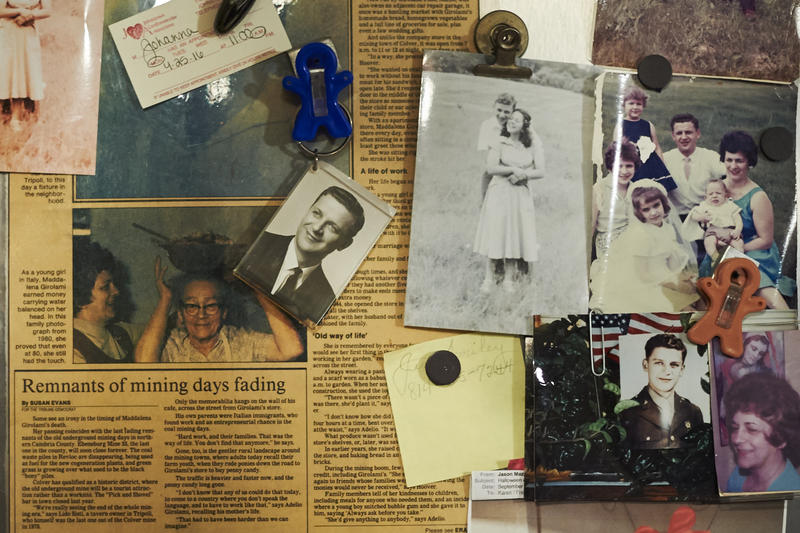 Semko's fridge holds pictures from the family's past. Her mother ran a store that offered miners an alternative to the company store.