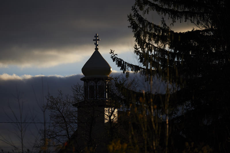 The steeple of Holy Ascension Orthodox Church of Colver.