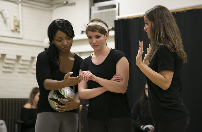 "During rehearsal for ""Good Kids"" at Pitt, student actors (from left) Jiane Amoroso, Kayleigh Rozwat and Claire Sabatine react to videos and photos posted the night of the incident. The show is based on the 2012 Steubenville rape case."