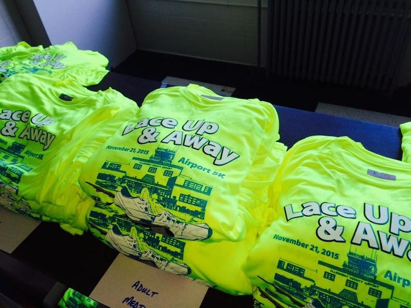Bibs, chips, shirts and swag bags are ready for runners and walkers attending the Allegheny County Airport's first Lace Up & Away 5K on Saturday.