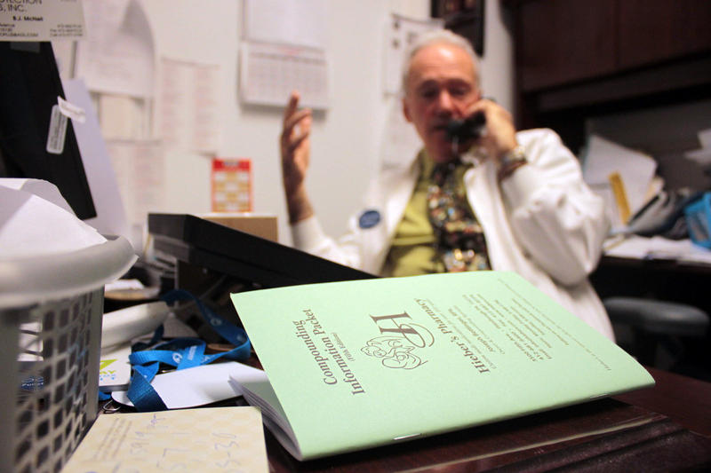 Hieber's Pharmacy is a compounding pharmacy, trained and licensed to make medicines from pure chemicals. The green booklet on owner and pharmacist Joe Bettinger's desk contains some of the pharmacy's more common formulas.