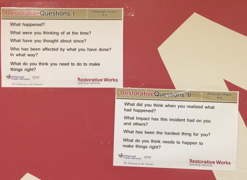 Posters at Langley K-8 list examples of questions to use when in conflict.