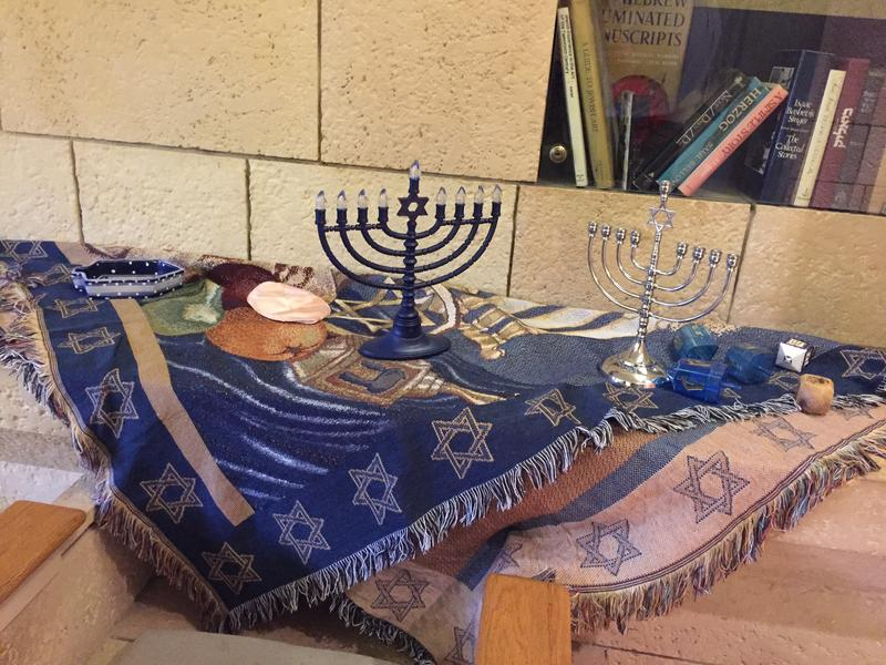 Items to celebrate Hanukkah in the Israeli Heritage Room.