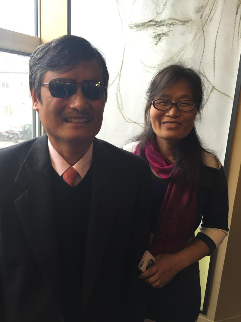 Civil rights lawyer Chen Guangcheng and his wife Yuan Weijing at the 90.5 WESA studios on the South Side.