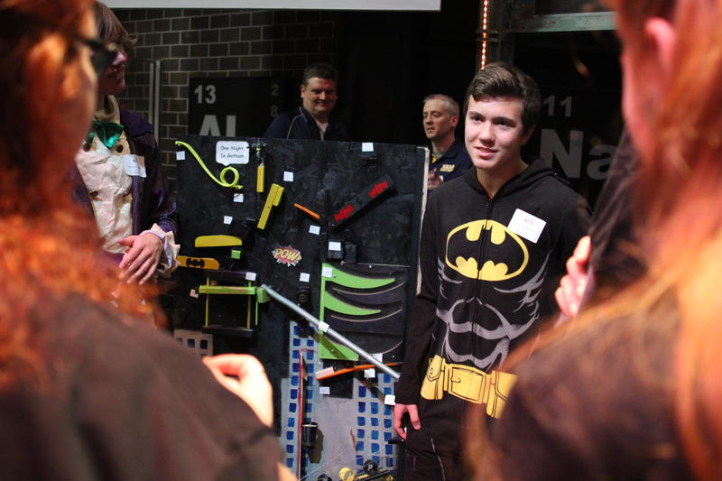 Nathan Wood, a junior at Mars Area High School, answers questions from judges at the Chain Reaction Contraption Contest at the Carnegie Science Center.