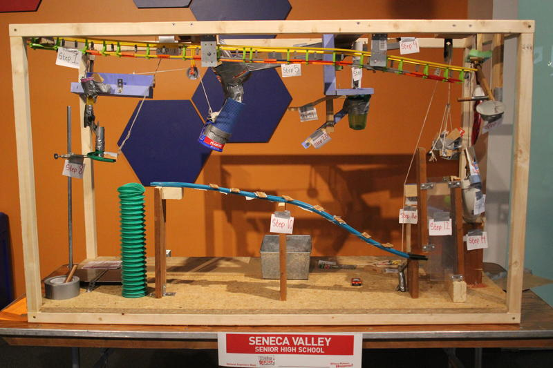 One of the 35 projects at the Carnegie Science Center's Chain Reaction Contraption Contest.