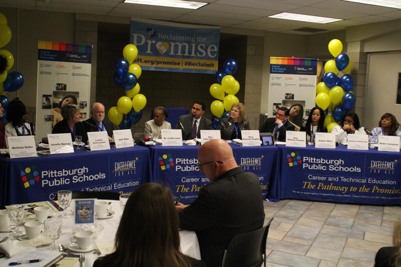 A panel of educators and advocates discuss the importance of vocational training Monday at Westinghouse Academy in Homewood.
