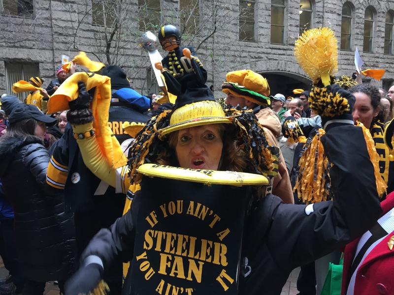 "Phyliss Anderson showed her enthusiasm for the Steelers with her ""Terrible Toilet."""