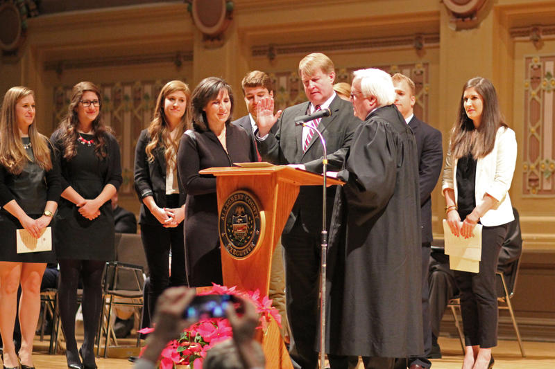 Allegheny County Executive Rich Fitzgerald is sworn in for his second term Monday at Soldiers and Sailors Memorial Hall in Oakland.