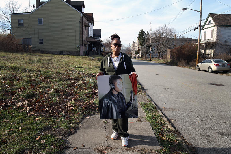 Carol Speaks holds a photo of her grandson Antwann Smith, who, at age 19, was shot and killed in Homewood in 2013.