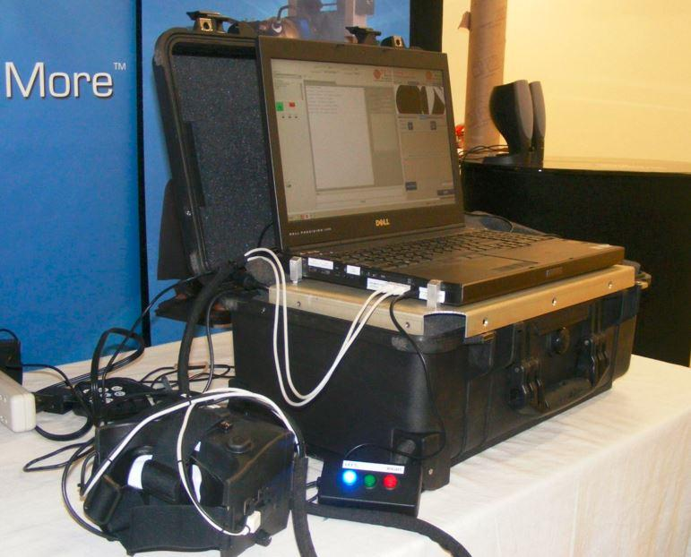The I-Portal from Neuro Kinetics uses goggles (lower left) and a laptop to measure eye movements and diagnose concussions.
