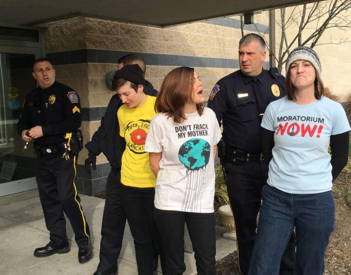 Seven protesters were arrested after they disrupted Gov. Wolf's pipeline task force meeting in Harrisburg, Wednesday.