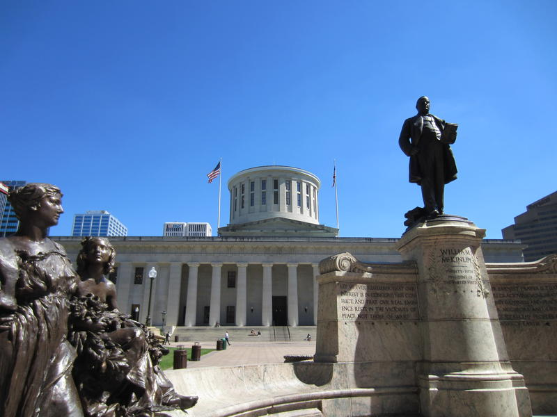 Statue of President Wm. McKinley in front of the Ohio Statehouse