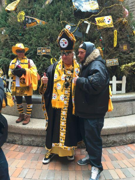 """Pope Yinzer,"" Don Zadach, posed with Christopher Irwin of Castle Shannon."