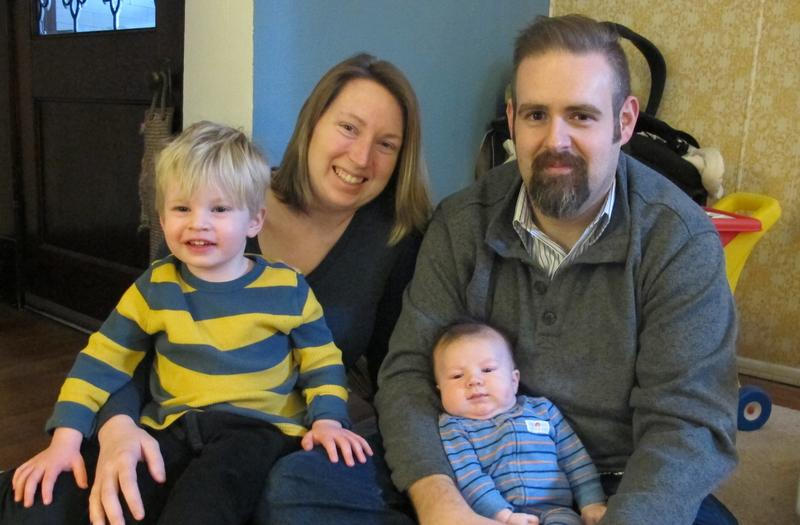 Jessica Conway and Sam Hamilton inside their Bloomfield home with sons Wylie and Max.