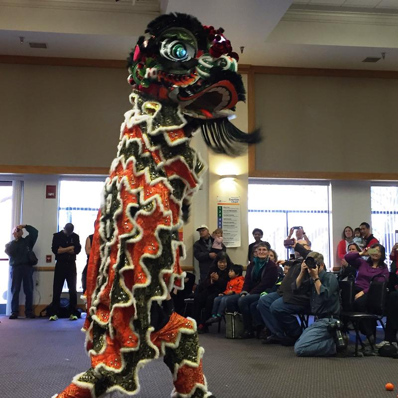 Members of the Pittsburgh Steel Dragon acrobatic lion dance team perform a traditional routine in honor of the Year of the Monkey.