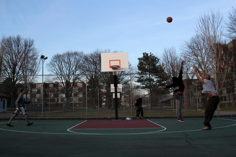 The 2-acre Enright Park surrounded by Penn Plaza includes a basketball court and playground.