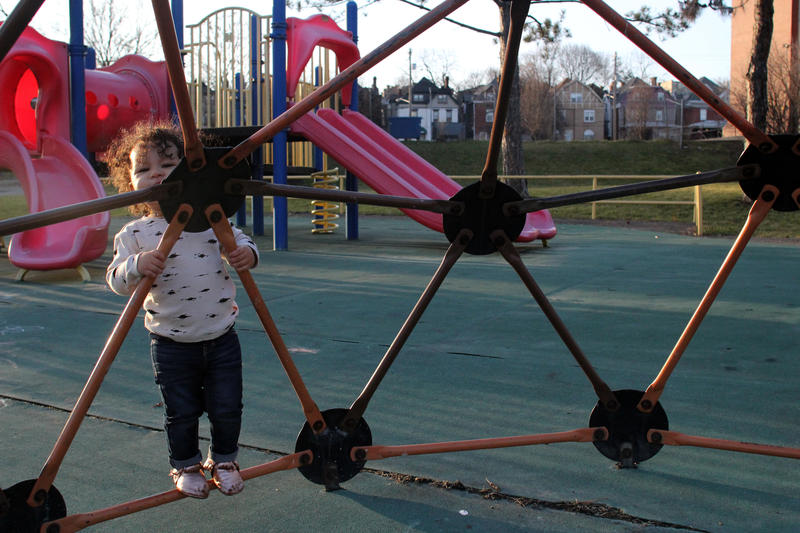 Harper Thompson, 1, plays at Enright Park in East Liberty Tuesday. Harper's mother Ashleigh Oliver said they live down the street and often walk to the park.