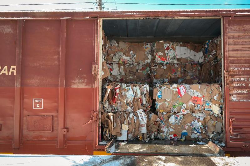 Yes, your recycling does get sorted. Bails of materials are loaded directly onto trains at this recycling sorting facility, which lies right on rail lines in Pittsburgh's Hazelwood neighborhood.