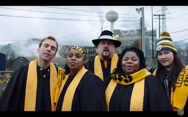 "A still from the ""Super Bowl Babies Choir"" features the children of Steelers fans born nine months after Pittsburgh won in 1976. Seal and the NFL teamed up for the advertisement leading up to Super Bowl 50."