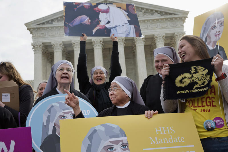 Nuns with the Little Sisters of the Poor outside the Supreme Court in Washington.