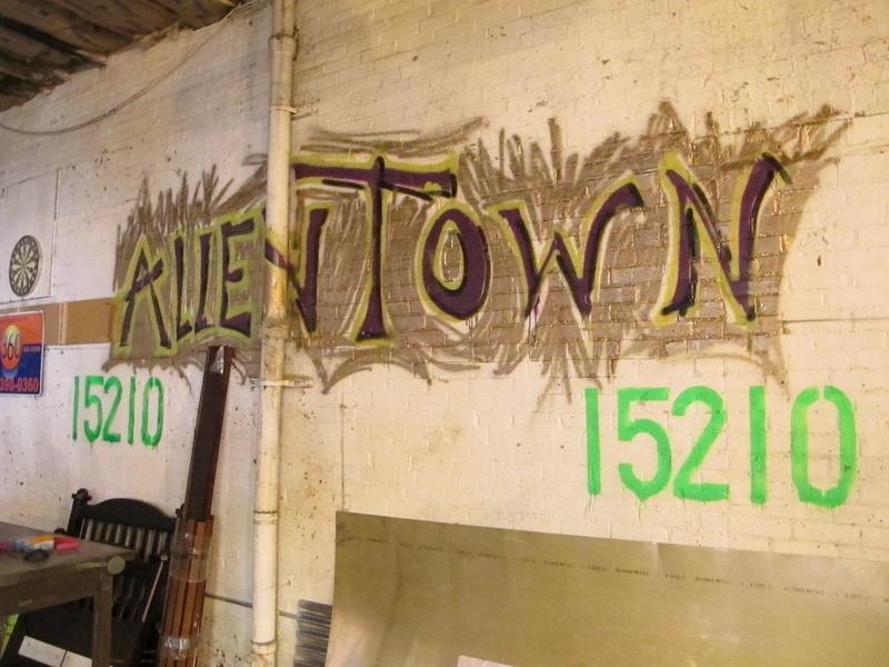 Graffiti inside the Industry Street warehouse.