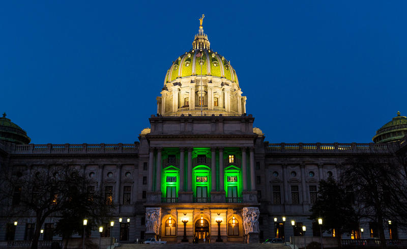The state Capitol building in Harrisburg is lit with green lights to celebrate the passing of the medical marijuana bill.