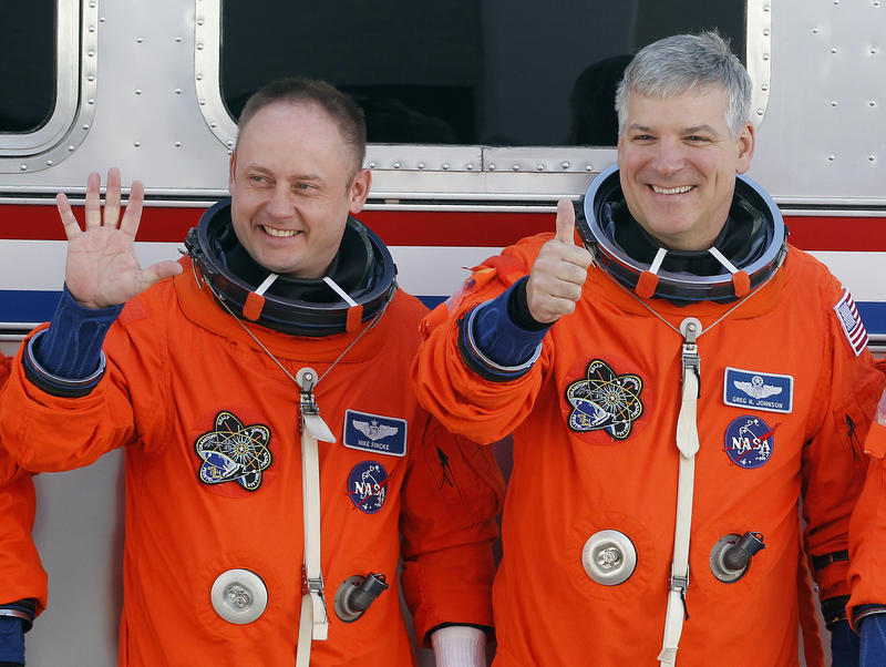 Space shuttle Endeavor mission specialist Mike Fincke, left, in Cape Canaveral, Fla. Fincke was raised in Emsworth, Pa.