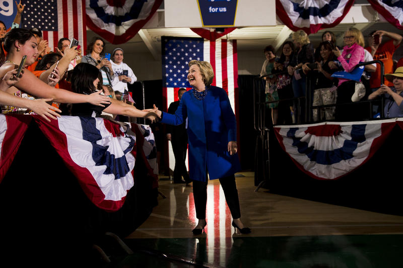 Democratic presidential candidate Hillary Clinton arrives at a campaign stop Monday, April 25, 2016, at Westmoreland County Community College in Youngwood, Pa.