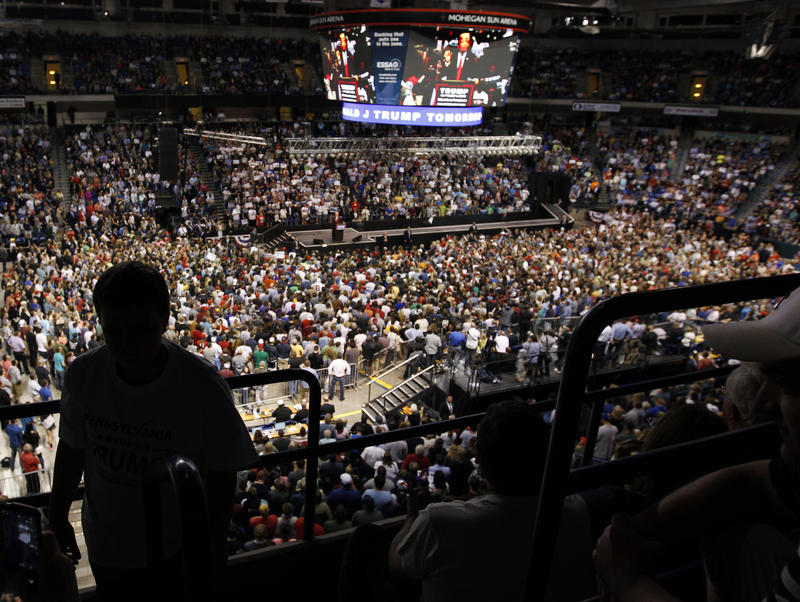A large gathering of supporters listen as Republican presidential candidate Donald Trump speaks at a campaign rally Monday, April 24, 2016 in Wilkes-Barre, Pa.