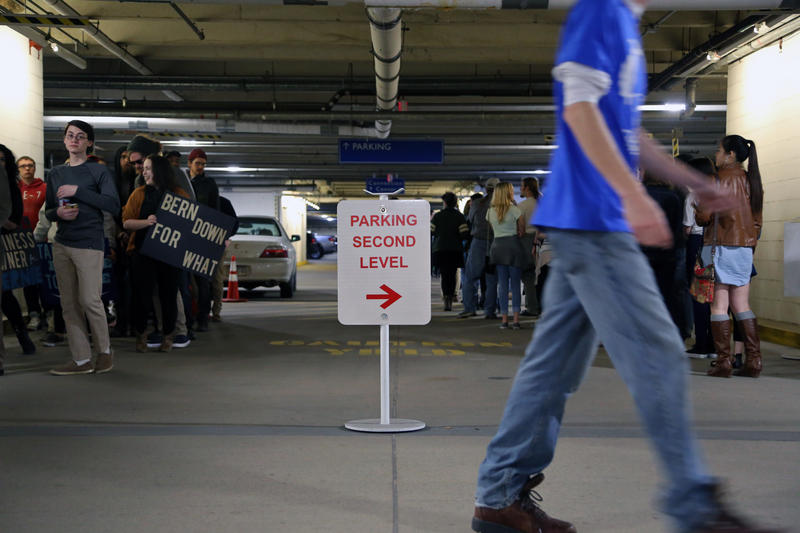 Lines weave in tendrils through the David L. Lawrence Convention Center parking garage in Downtown Pittsburgh where thousands waited for hours see presidential hopeful Bernie Sanders speak on Thursday, March 31, 2016.